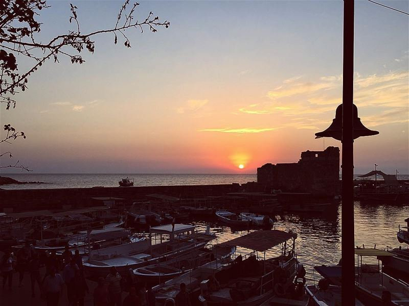 byblos jbeil livelovejbeil lebanon explorelebanon sunset ... (Port Byblos)