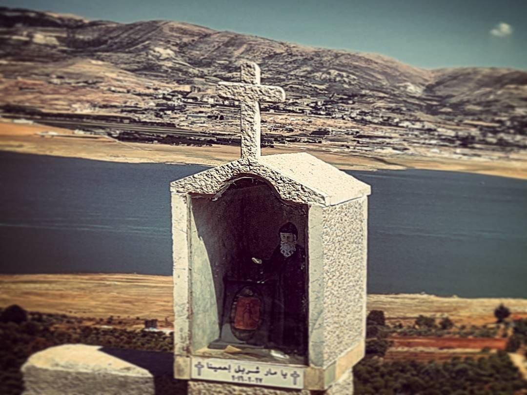 Watcher ontheedge surreal religious shrine ontheedge lebanese ... (Lake Qaraoun)