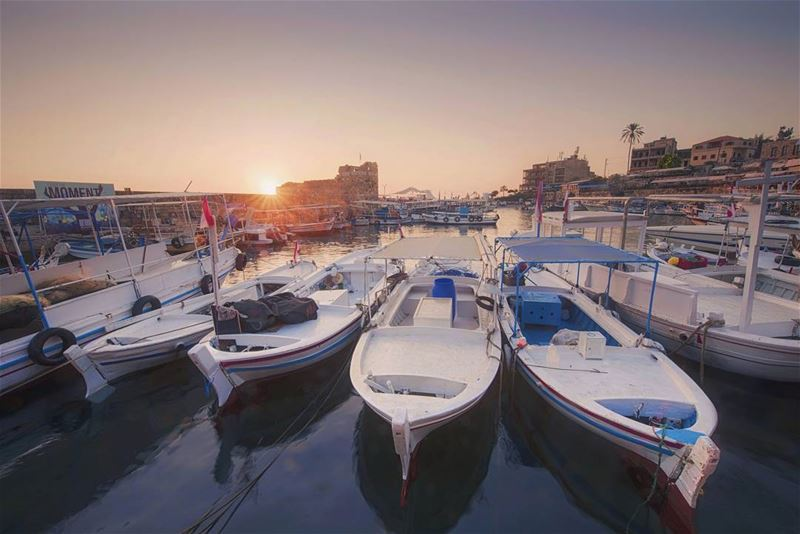 landscape seascape sunset sunrays harbor boats oldtown lebanon byblos...