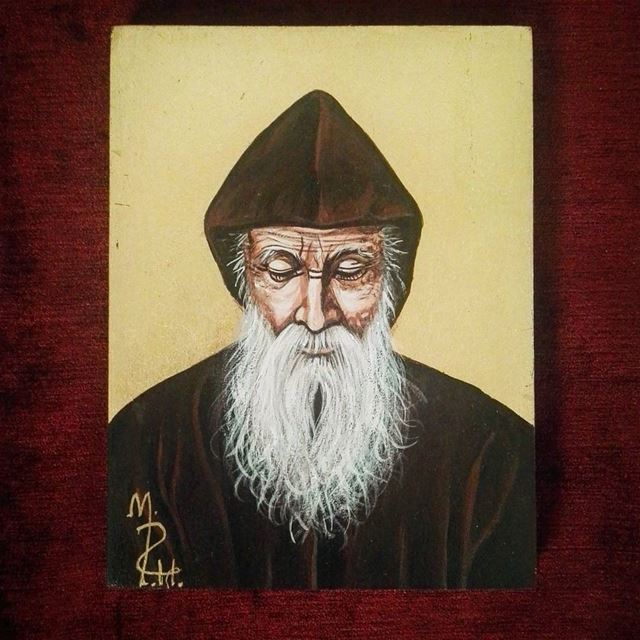 Amazing Saint Charbel Makhlouf icon by Małgorzata Pilecka- Hilal 😍🙏👍👏... (Mount Lebanon Governorate)