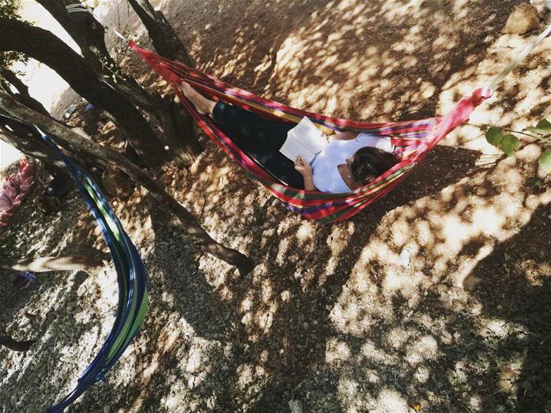 Happiness is reading a book in a hammock. 📕⛺️ CedarsGroundCampsite ... (Cedars Ground Campsite)