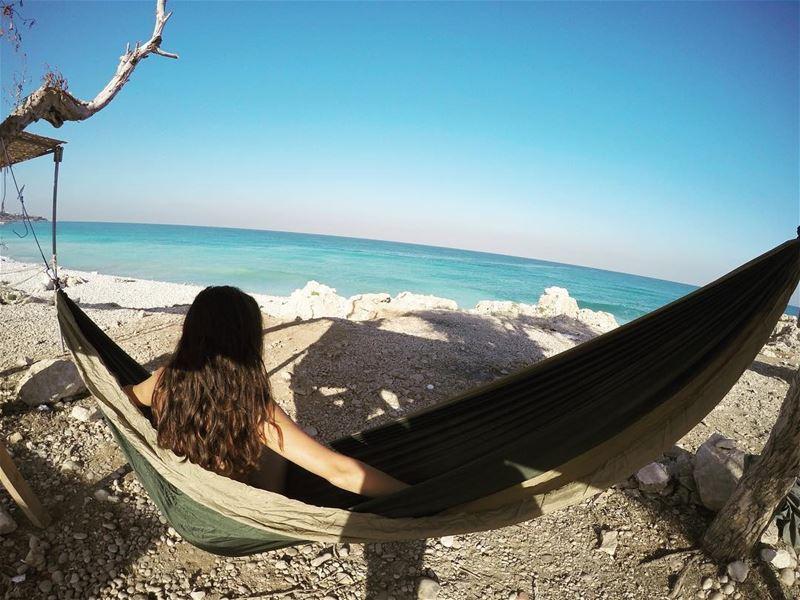 Beach more, worry less ☀️ 🌊 summer sun sand rock waves water ... (Fadouss, Liban-Nord, Lebanon)