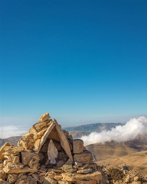 Virgin of the Snows. She stands there in her little stone niche, sheltered... (Mzaar Kfardebian)