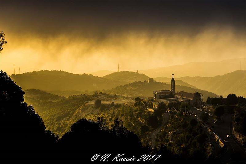 mountain sunset fog clouds mist ngconassignment annaya Lebanon ... (Annâya, Mont-Liban, Lebanon)