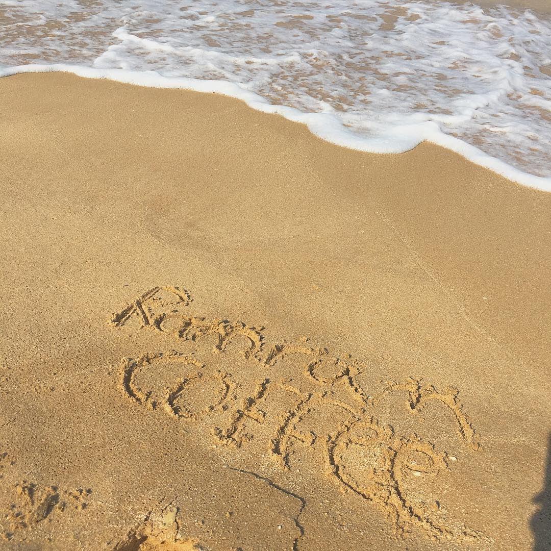 Love coffee to the beach and back ... morningcoffee ramramcoffee ... (Jiyeh Marina Resort Hotel & Spa)