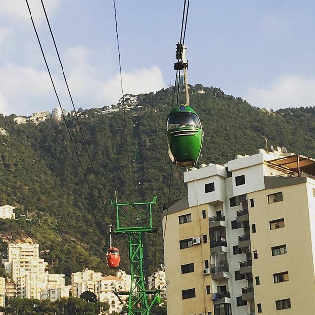 On the way up to Harissa riding on the teleferique Lebanon ... (Telefrique Harrisa)
