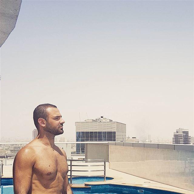 Earlier today ☀️ summer pool Dubai gym fit fitness workout beard... (Dubai, United Arab Emirates)