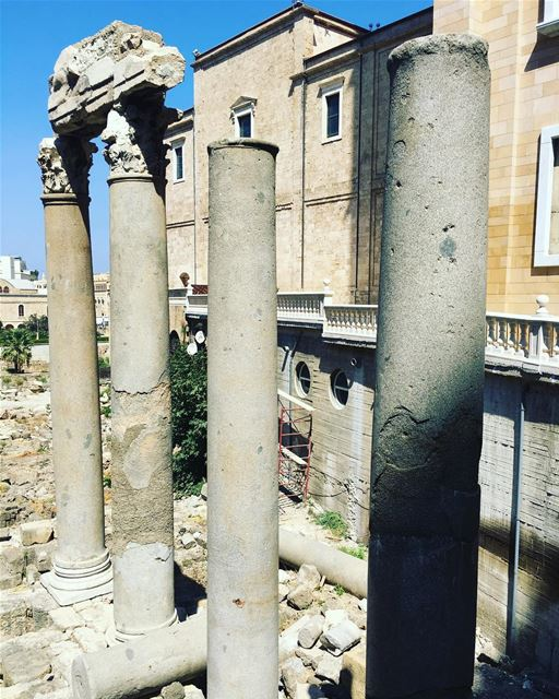 Roman ruins beside Saint George Cathedral in downtown Beirut Lebanon ... (Downtown Beirut)