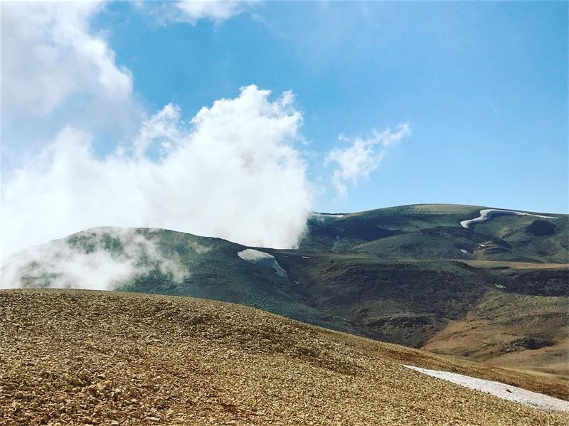 Hiking with the clouds. trekking hiking nature livelovebcharre hill ... (Qurnat as Sawda')