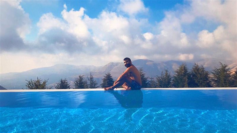 Horizon and beyond 💙... pool infinity beyond blue sky cloud clouds... (Faraya, Mont-Liban, Lebanon)