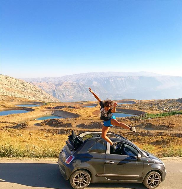 If you jump , I jump 🐒🚘 Lebanon nature Fiat Fiat500 ... (Akoura, Mont-Liban, Lebanon)
