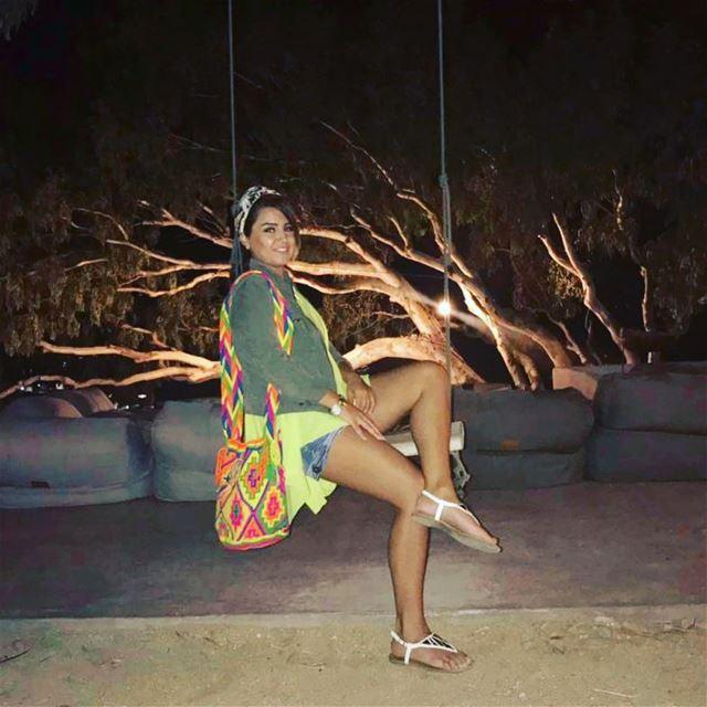 I'll never be too old for a swing! 🎠 mykonos greece beach l4l ... (180º sunset bar-Mykonos)
