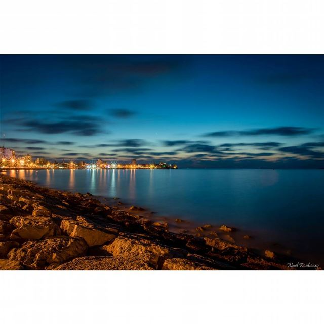 tyre  lebanon  beach  happyhour  night  coast  sea  clouds  rocks  blue ...