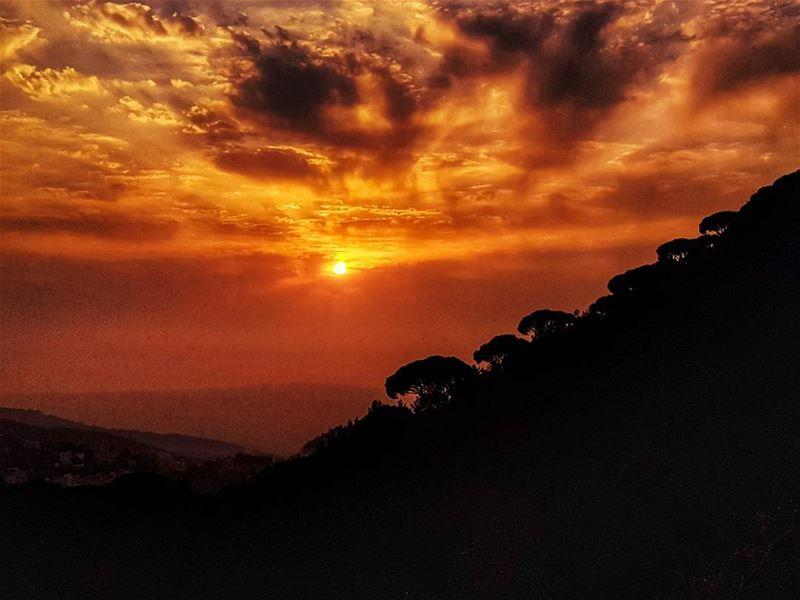 Change of season sunsets sunset ig_sunset beirut fireball nature ... (Mar Chaaya Broumana)