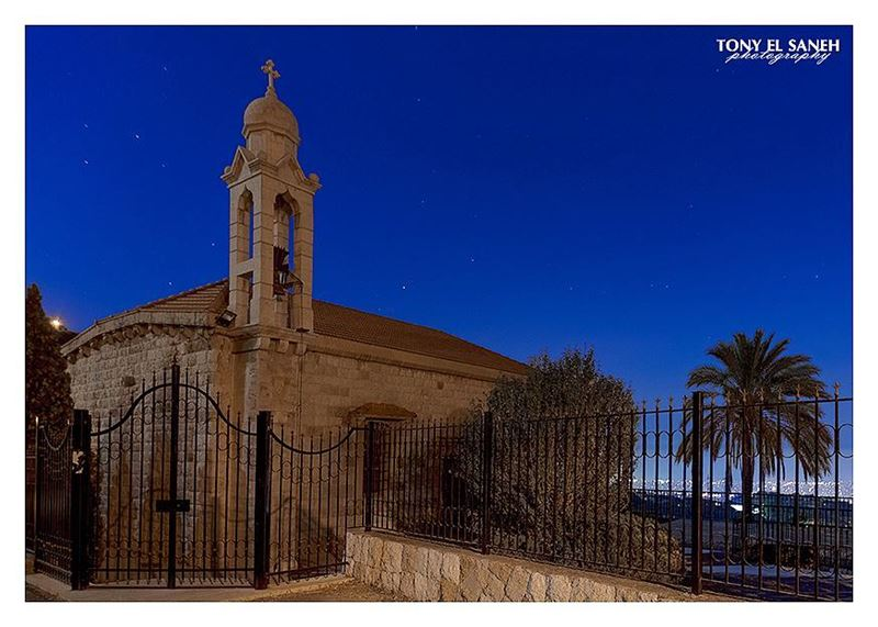 lebanon ainsaade church night mood clear blue sky bright stars ... (Aïn Saâdé, Mont-Liban, Lebanon)
