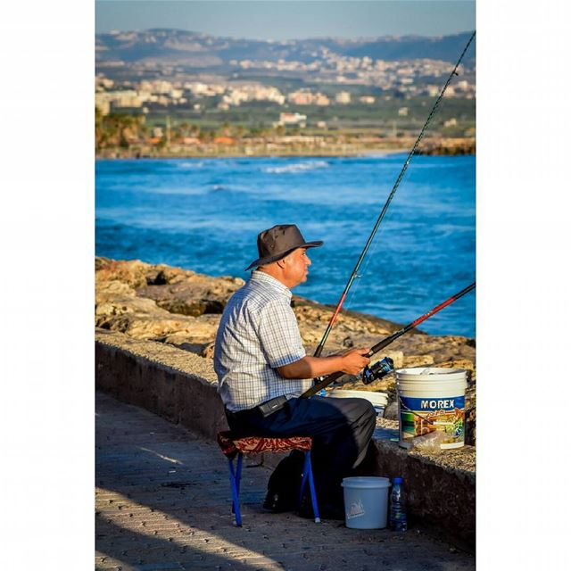fishing  sea  fishinglife  fisherman  fish  summer  sport   photooftheday... (Tyre, Lebanon)
