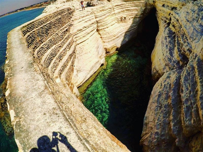 meandmyshadow 👥... naqoura tyre livelovetyre sea rocks cave ...