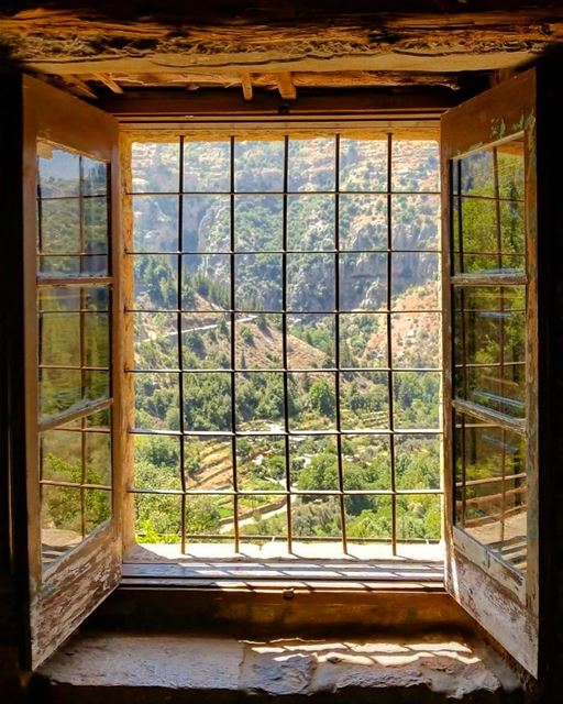Lovely prison 🇱🇧. window valley greenery windowview ... (Ouâdi Qannoûbîne, Liban-Nord, Lebanon)