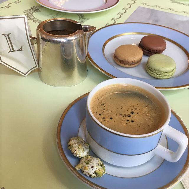 "ٰلا تدمن شي أكثر من اللازم إلا :"" القهوة "" طبعاً .❤️ ☕️🎶... forgot... (Ladurée Lebanon)"