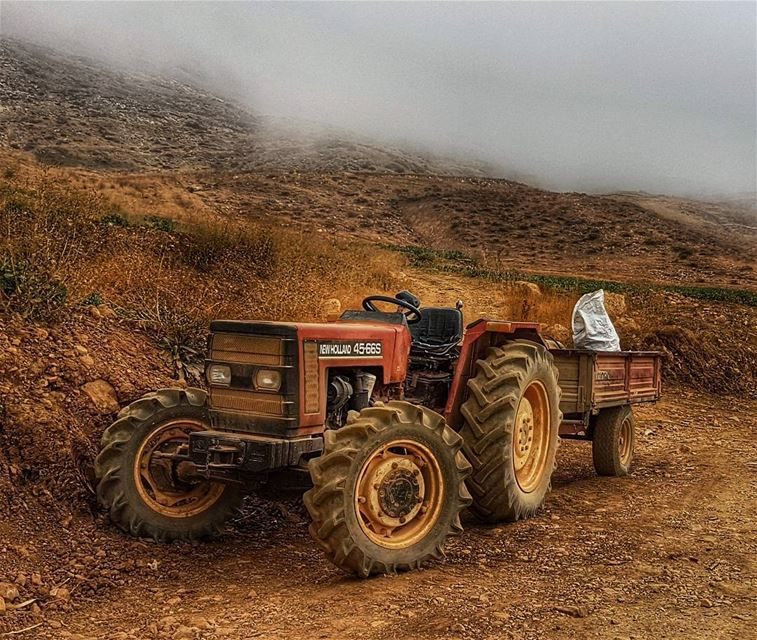 Abandoned tractor mountains fog sannine livelovelebanon ... (Mount Sannine)