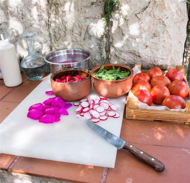 Falafel in the making at Tawlet Beit el Qamar… Tahine, fresh veggies,...