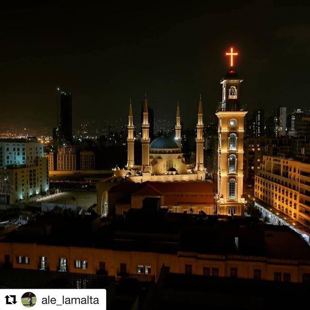 🇱🇧 Torre da Catedral Maronita de St. George em contraste com os... (Downtown Beirut)