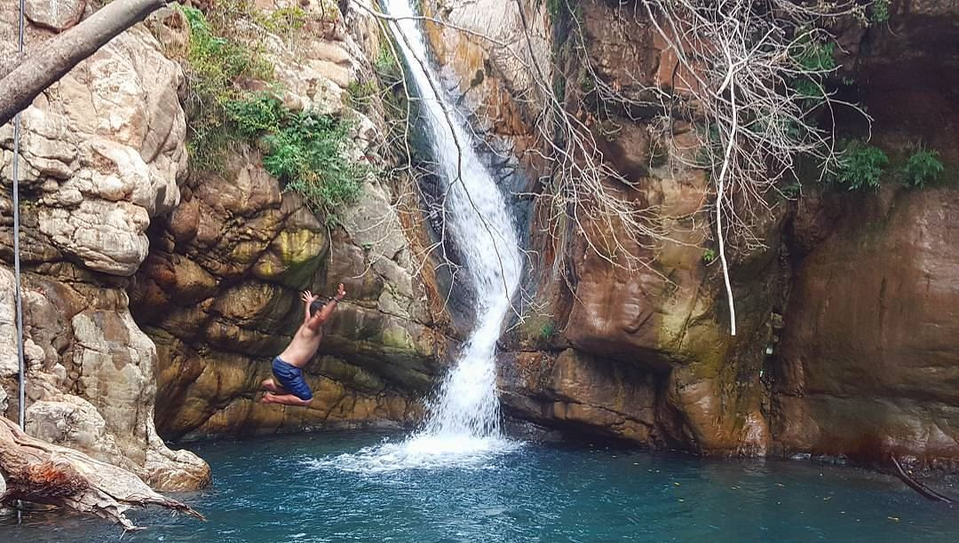 Sometimes you just need to jump !!!...📸@michelsallit waterfall ... (Mothernature)