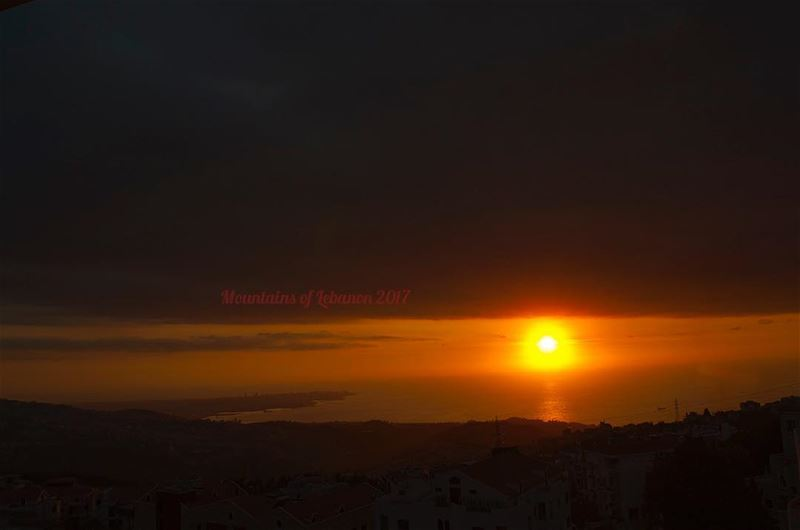 The First Brilliant Fall Sunset of the season! one day after fall equinox : (Balloûné, Mont-Liban, Lebanon)