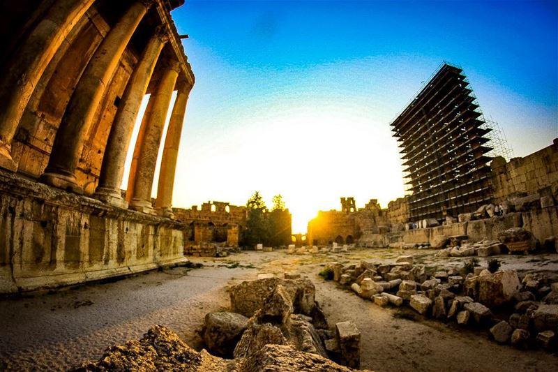 History under construction... temple ruins sunset history perspective... (Baalbek , Roman Temple , Lebanon)