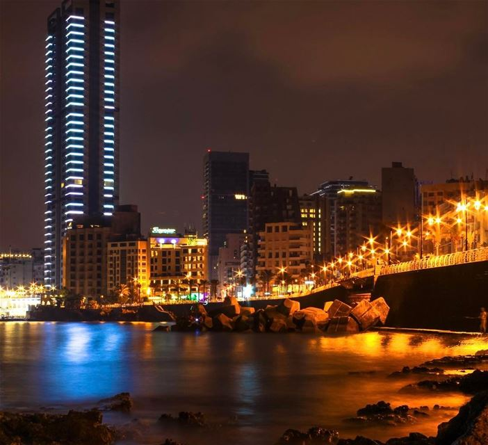 Beirut lebanon nightphotography landscape cityscape citylights... (Ain El Mreiseh - Cornish Al Manara)