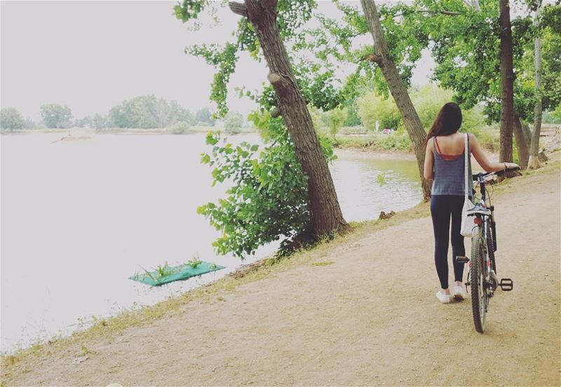 Wandering 🍃 nature lake cycling bicycle trees reserve ... (Taanayel- Bekaa)
