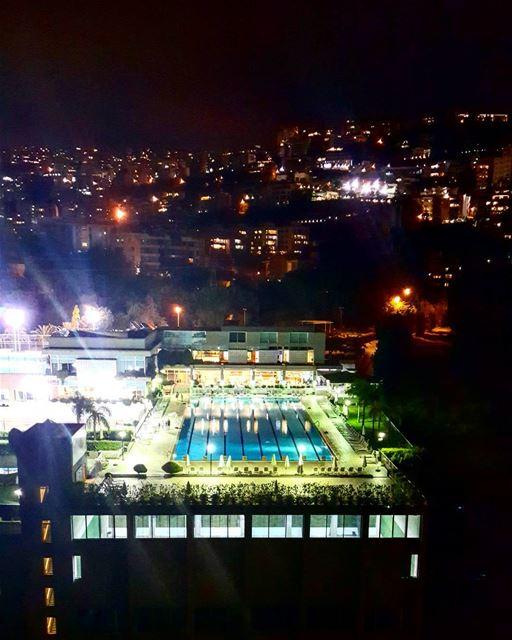 Pool side view. 🏊♀️ ... Lebanon atnight Metn naccache ...