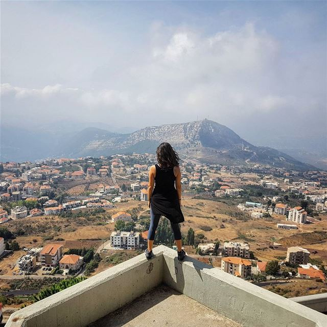 Feeling a bit like superwoman here but you can't blame me. Heights do give... (Saydet El Hosn - Ehden)