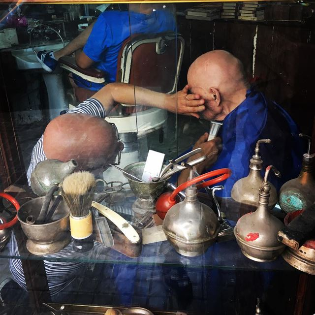 Clean shave streetphotography barber barbershop documentaryphotography... (Mar Mikhael-Armenia The Street)