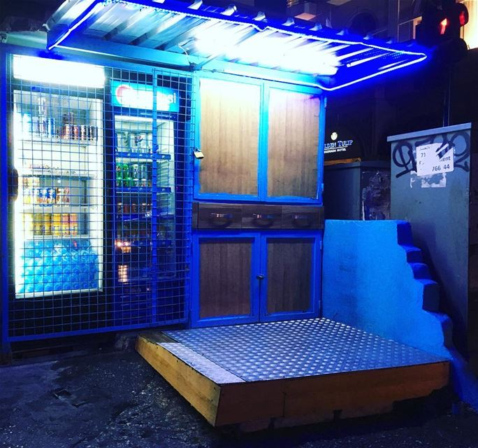 streetshop displayfridge closed afterhours nofilter blues nightlife... (Zaitunay Bay)