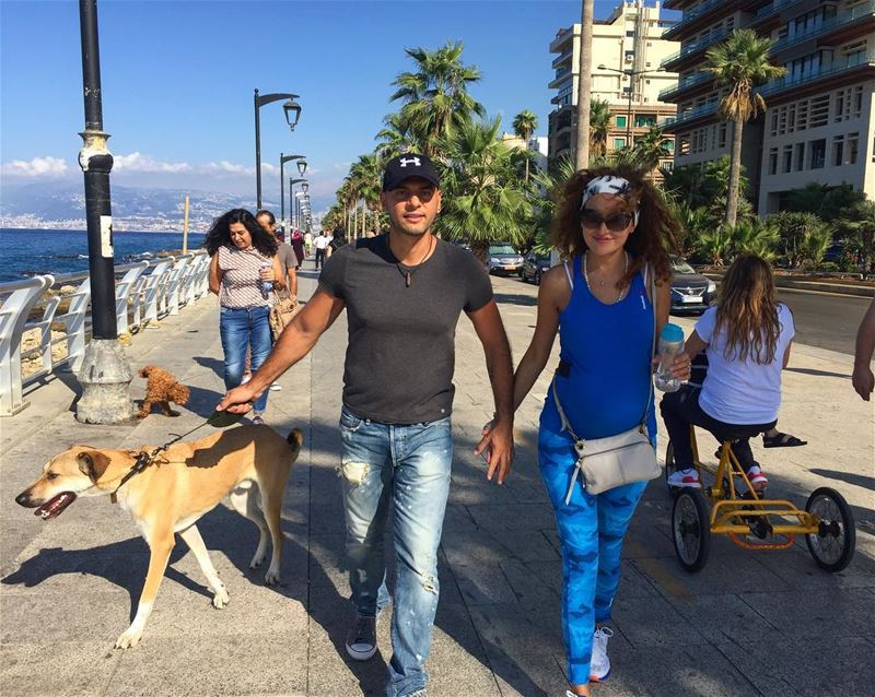 Family walk ❤️🐺🤰 yogi love family wife Rusty dog babygirl Ella ... (Beirut at Manara -zaituna bay)