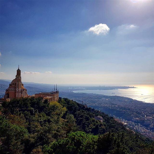 lebanon beirut jounieh harissa church statue landscape ... (Harîssa, Mont-Liban, Lebanon)