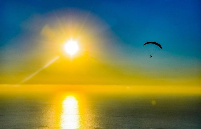 Paragliding at sunset. sunset sun dawn sea mediterranean ... (Harîssa, Mont-Liban, Lebanon)