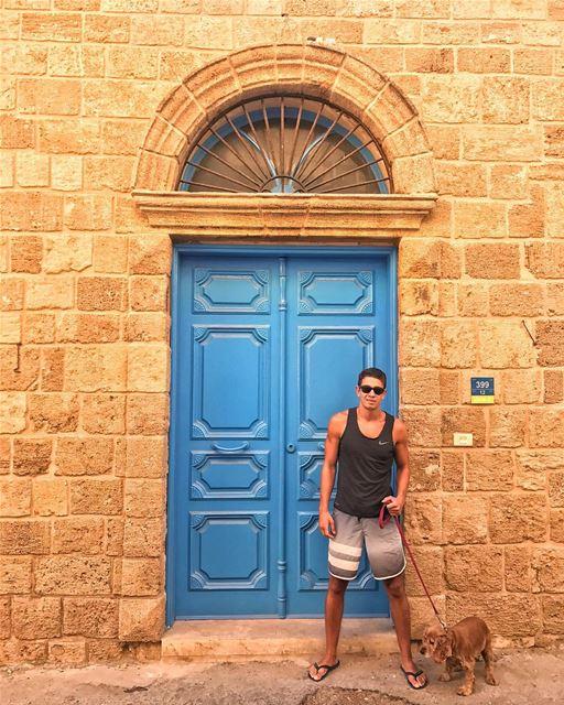 Just a guy, his dog and a blue door 🌀 (Batroûn)