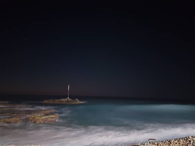 Starry nights by the beach.. waves heaven leavemehere livelovelebanon ...
