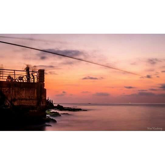 sea  dusk  sky  colors  clouds  rocks  fishermen  fishing  beirut ... (Ain El Mreisse, Beyrouth, Lebanon)