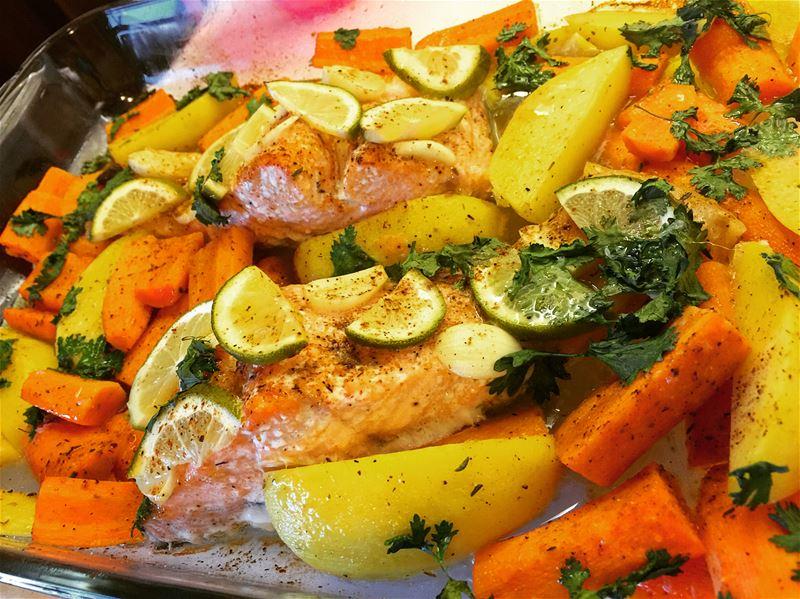 salmon and potato carrots lemon lime garlic yummy yummyfood so ...