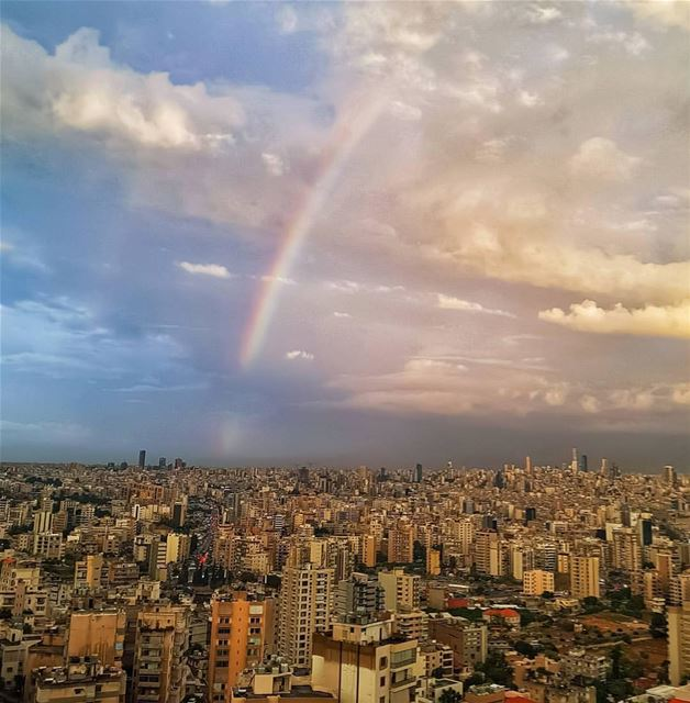This morning as Beirut is having its first showers and rainbow for the... (Beirut, Lebanon)