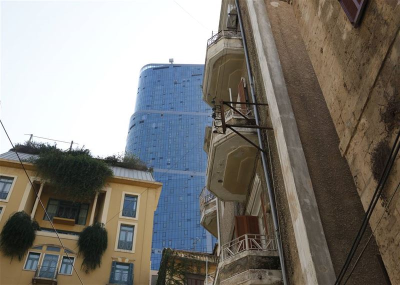 Seeing a tall glass building through the old smell of the city...... (Achrafieh, Lebanon)
