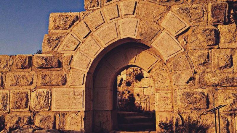 The door of dreams 🌅 sunshine castle beauty wonder dreamy yellow ... (Beaufort Castle, Lebanon)