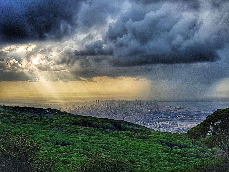 First rain over Beirut City rain autumn beirut beirutcity ... (Brummana)