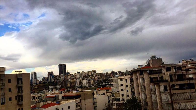 beirut under the clouds 🌧💨💙 city of lebanon autumn seasons ... (Beirut, Lebanon)