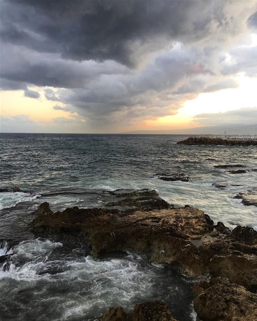 Good morning sea ocean walk sports beirut cloud rainbow ... (Ain El Mreisse, Beyrouth, Lebanon)