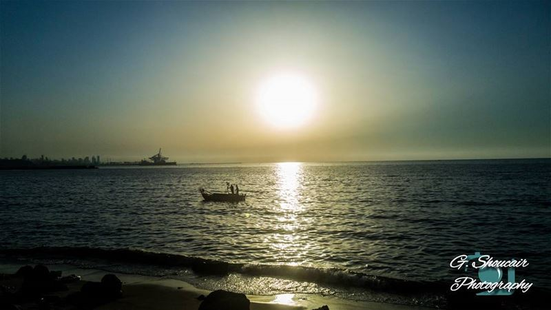 Fishing during a lovely sunset______🔴⚪⚪🌲⚪⚪🔴______... (Jal el Dib)