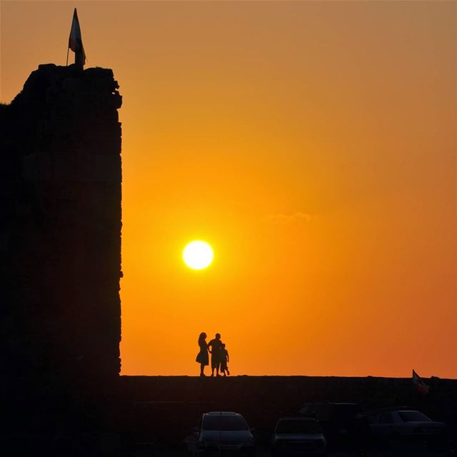 Family enjoying sunset in the oldest city of the world, 7000 years... (Byblos, Lebanon)